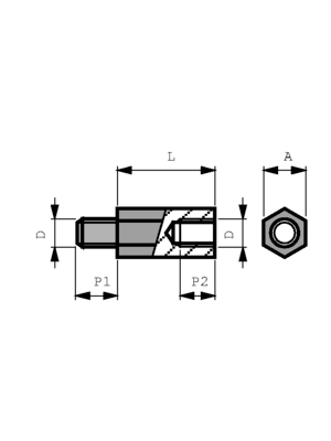 S.A Bourqui Jean - 99133-50300 / DSS3050X30 D - Spacer bolt, galvanized steel 30 mm 5 mm, 99133-50300 / DSS3050X30 D, S.A Bourqui Jean