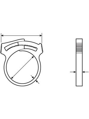 HellermannTyton - SNP12(E)-POM-NA-D1 - Hose clamp, SNP12(E)-POM-NA-D1, HellermannTyton