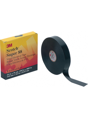3M - SUPER88 25MMX33M - Black insulating tape, 25mmx33m black 25 mmx33 m, SUPER88 25MMX33M, 3M