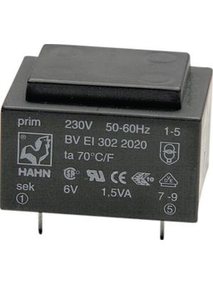 Hahn - EI 301 3589 - PCB transformer 0.7 VA 12 VAC  (2x), EI 301 3589, Hahn
