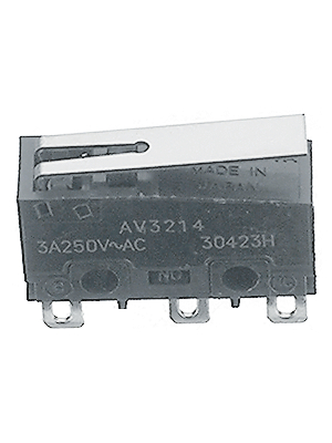 Panasonic - AV32143AT - Micro switch 3 AAC Flat lever N/A 1 change-over (CO), AV32143AT, Panasonic