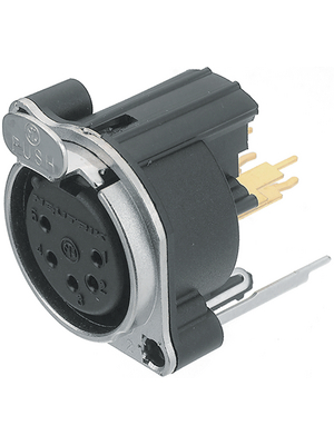 Neutrik - NC5FBV-D - XLR Panel-mount female receptacle 5 N/A B Vertical / PCB Mounting nickel-plated, NC5FBV-D, Neutrik
