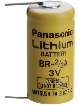 Panasonic Automotive & Industrial Systems - BR 2/3A P2P - Lithium battery 3 V 1200 mAh, 2/3A, BR 2/3A P2P, Panasonic Automotive & Industrial Systems