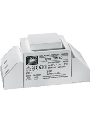 Block - TIM 60 - Isolating transformer 60 VA 230 VAC   115 (2x) VAC, TIM 60, Block