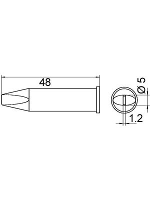 Weller - XHT D - Soldering tip Chisel shaped 5.0 mm, XHT D, Weller