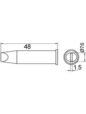 Weller - XHT E - Soldering tip Chisel shaped 7.6 mm, XHT E, Weller