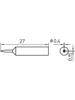 Weller - XNT 1SC - Soldering tip Chisel-shaped, narrow 0.4 mm, XNT 1SC, Weller