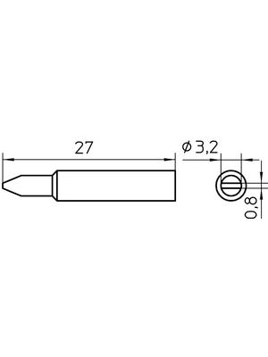 Weller - XNT C - Soldering tip Chisel shaped 3.2 mm, XNT C, Weller