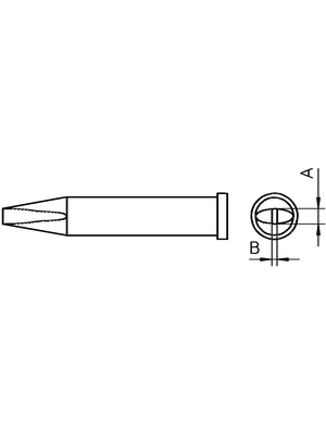 Weller - XT B - Soldering tip Chisel shaped 2.4 mm, XT B, Weller