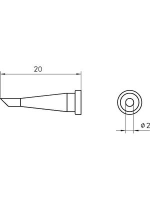 Weller - LT 22C - Soldering tip Round shape beveled 45° 2 mm, LT 22C, Weller