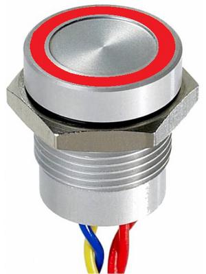 Apem - PBAR1AF0000K0S - Piezo switch Natural aluminum 16.2 mm 1 make contact (NO) Series PBA, PBAR1AF0000K0S, Apem