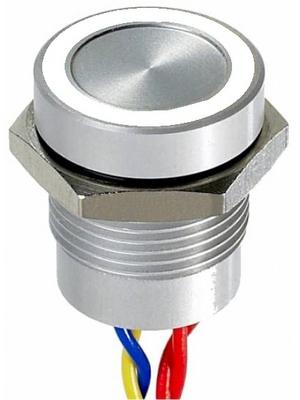 Apem - PBAR1AF0000K0W - Piezo switch Natural aluminum 16.2 mm 1 make contact (NO) Series PBA, PBAR1AF0000K0W, Apem