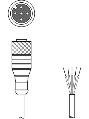 Leuze electronic - K-D M12A-5P-10m-PVC - Connection Cable,10 m, K-D M12A-5P-10m-PVC, Leuze electronic