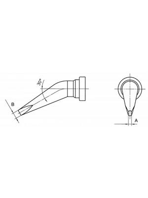 Weller - LT HX - Soldering tip Chisel-shaped, bent 30°, LT HX, Weller