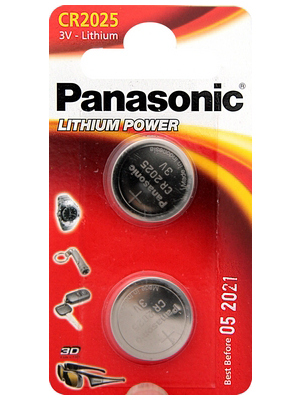 Panasonic - CR2025EP/2B - Button cell battery,  Lithium, 3 V, 165 mAh, PU=Pack of 2 pieces, CR2025EP/2B, Panasonic