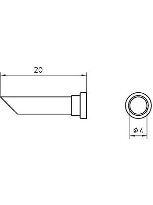 Weller - LT 44C - Soldering tip Round shape beveled 45° 4 mm, LT 44C, Weller