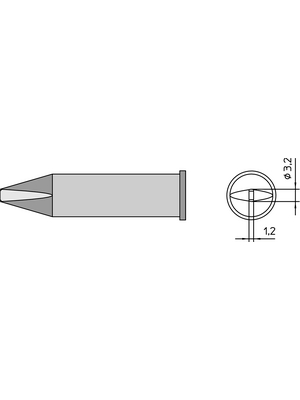 Weller - XHT C - Soldering tip Chisel shaped 3.2 mm, XHT C, Weller