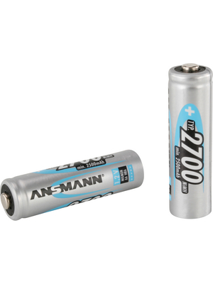 Ansmann - AA 2700 MAH - NiMH rechargeable battery AA / HR6 1.2 V 2700 mAh PU=Pack of 4 pieces, AA 2700 MAH, Ansmann