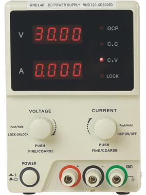 RND Lab - RND 320-KD3005D - Laboratory Power Supply 1 Ch. 0...30 VDC 5 A, RND 320-KD3005D, RND Lab