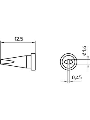Weller - LT A SL - Soldering tip Chisel shaped 1.6 mm, LT A SL, Weller