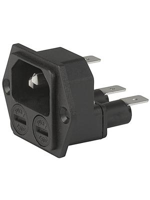 Schurter - 4707.2000.21 - Plug C14 Faston 6.3 x 0.8 mm 10 A/250 VAC black Screw mounting L + N + PE, 4707.2000.21, Schurter
