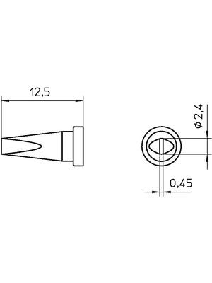 Weller - LT B SL - Soldering tip Chisel shaped 2.4 mm, LT B SL, Weller