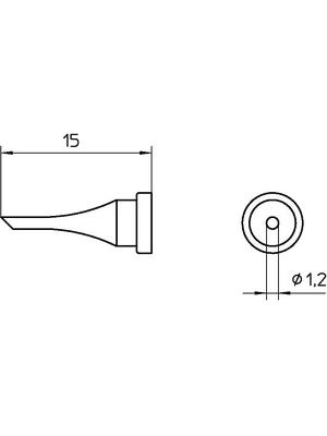 Weller - LT 11C - Soldering tip Round shape beveled 45° 1.2 mm, LT 11C, Weller